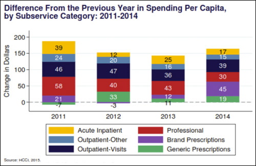 Difference from the previous year in spending per capital by subservice category, 2011-2014.